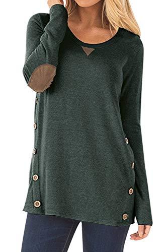 Dasbayla Frauen Pulli Lässig Bluse T-Shirt Hemd Pullover Rundhalsausschnitt Sweatshirts Grün L