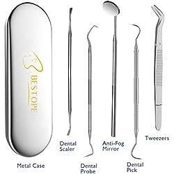 Zahnsteinentferner 5er BESTOPE Zahnreinigung Set, Zahnpflege Edelstahl hochwertige Profiqualität Instrument von Dental/Zahnarzt & Garantie von Ihre Zähne