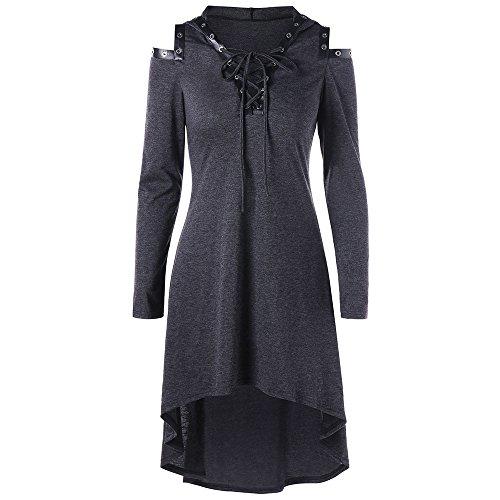 CharMma Frauen Casual Lace Up Off Schulter V-Ausschnitt High Low Hem Kapuzen Tunika Herbst Kleid (M, Dunkelgrau) (Rayon Kordelzug)