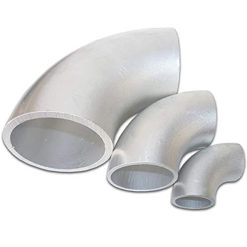 B&T Metall Aluminium Rohrbogen 90°, Ø Größe 70 x 3,0 mm | Alu Schweissbogen Kniestück | Schweiß-Fitting Bauart Norm 3 | gepresstes Winkelstück | eloxierfähiger Stahlrohr-Bogen AlMgSi0,22 - Schweiß-fitting