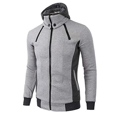 MAYOGO Hoodie Herren Grau Reißverschluss Hoher Kragen Stehkragen Warm Sweatshirts Coats Winterjacke mit Kapuze Männer Winddicht Mantel Tops (Carhartt Mantel Hoch)