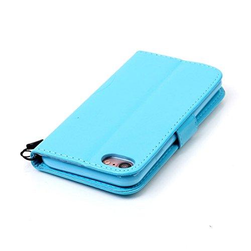 iPhone 7 Coque ( Gris ), Cuir Etui Rabat Style Portefeuille Case Avec Carte Slots pour Apple iPhone 7 4.7 inch Avec 3D Bling Cristal Strass Rose Love-Hearts Bowknot bleu
