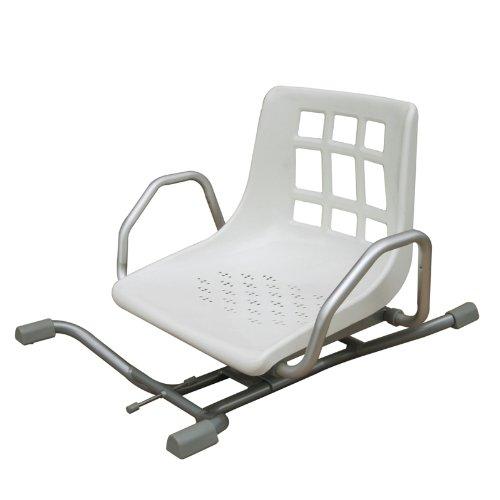Silla giratoria 360º para bañera | Comodidad gracias a su respaldo y reposabrazos | Aluminio | Para toda la familia: 4 posiciones de uso | Instalación sin obras | 100% seguridad en la bañera
