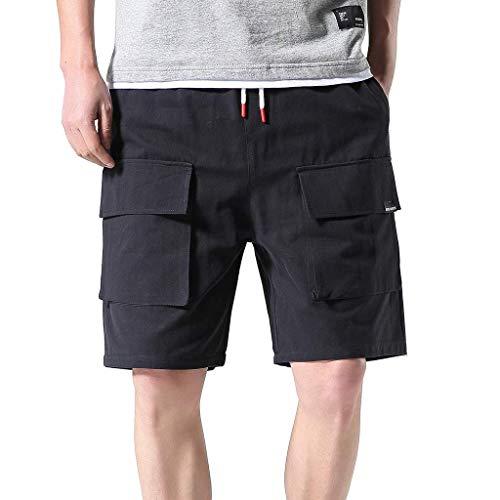 Xmiral Shorts Herren Taschen Overall Elastische Taillen Sommershorts Sports Hose Bleistift-Hosen Jogger Mode Shorts mit Taschen(Schwarz,L) - Chester Labs