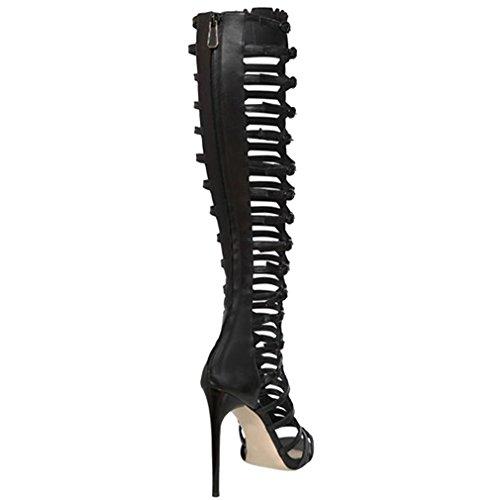 ENMAYER Femmes Open Toe Cover Heel Retour Zipper Fermeture Knee High Gladiator Bottes d'été Strap Design High Heel Punk Sandales Bottes Noir