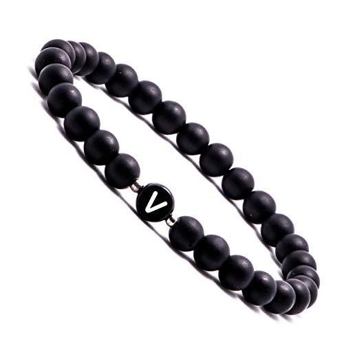 Personalisierte Namensarmbänder   Partnerarmbänder mit Onyx Perlen   Perlenarmband   individueller Schmuck für Herren und Frauen, Buchstabenperle V