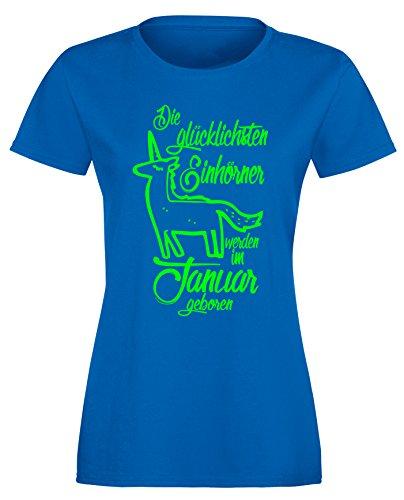 Die Glücklichsten Einhörner werden im Januar geboren! Perfektes Geschenk zum Geburtstag - Damen Rundhals T-Shirt Royal/Neongruen