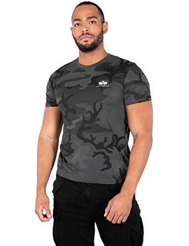 Alpha Industries T-Shirt Basic T Small Logo schwarz weiß blau grün rot Olive rot gelb braun grau (XL, Black Camo) - Schwarze Und Weiße Camo