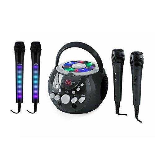 AUNA SingSing Dazzl Mic Set - Système karaoké, Lecteur CD, Écran LCD, Fonction de répétition, 2 x micros Kara Dazzl + 2 micros, Micros avec lumières LED Clignotantes, Câble de 3m, Noir