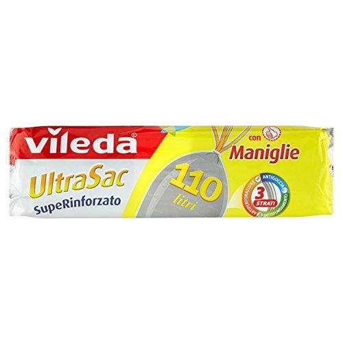 Vileda UltraSac SupeRinforzato Sacchi Immondizia, con Maniglie - 5 confezioni da 10 pezzi [50 pezzi]