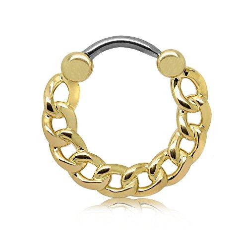 tumundo Set von 5 Stk / 1 Stk Septum Piercing Ketten-Glieder Clicker Klapp Nasen-Piercing Helix Stahl Nasenring Tragus, Farbe:golden