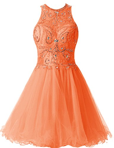 Dresstells Robe courte de soirée de cocktail Robe de bal en tulle emperlée dos nu Orange