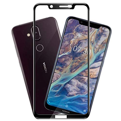 Hupshy Edge to Edge Curved Full Tempered Glass Screen Guard for Nokia 8.1 - Black