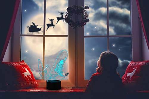 HeXie LED Nacht Lichter 3D Illusion Nachttisch Lampe 7 Farben ändern Schlafen Beleuchtung Smart Touch Button Nette Geschenk Warming präsentieren kreative Dekoration ideale Kunst Handwerk (Angeln) - 6
