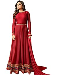Multi Retail Heavy Embroidered Georgette Gown Style Unstitched Salwar Suit With Dupatta,Bottom And Inner Fabric
