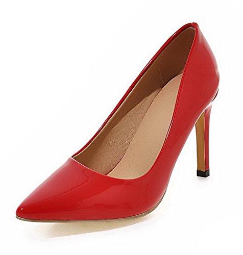 VogueZone009 Femme Pu Cuir Couleur Unie Tire Pointu Stylet Chaussures Légeres Rouge