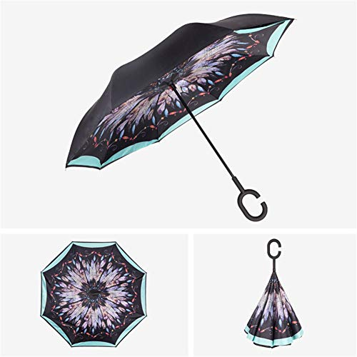 DevilLover Invertierte Manuelle Steuerung Regenschirm Doppelschicht C Griff Selbststehenden High Density Impact Cloth 190t Mit Tragetasche,Tiffany-Feather
