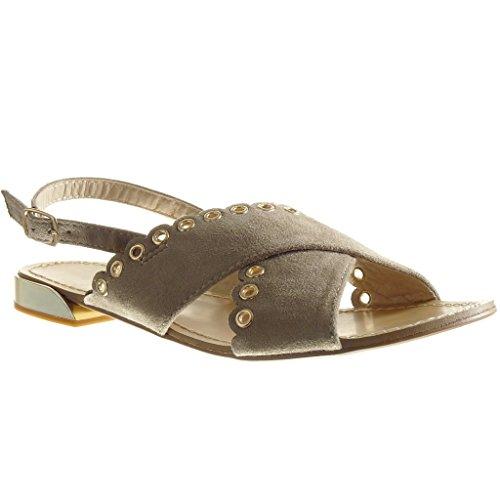 Angkorly Chaussure Mode Sandale Ouverte Femme Perforée Clouté Talon Plat 1.5 cm Beige