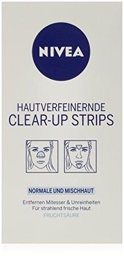 NIVEA Streifen zur Hautverfeinerung und Mitesser-Entfernung, Nase, Stirn und Kinn, 1 Packung (4 x Nase, 2 x Stirn/Kinn), Clear-Up Strips