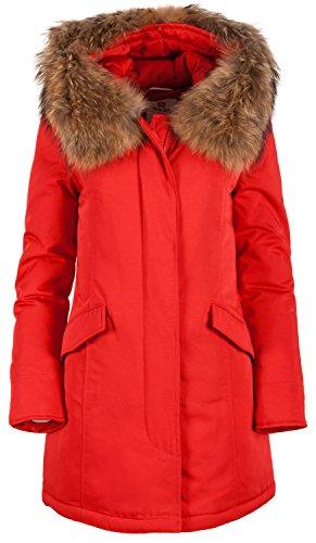 "6M166M Damen Daunenmantel Arctic Parka ""TARORE"" mit Echtfellkapuze (36, rot)"