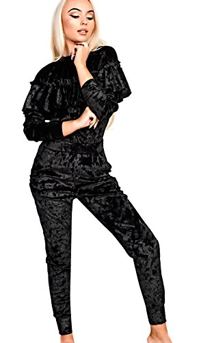 Women's Ladies Stunning Crushed Velvet Frill Jogger Set Black