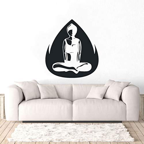guijiumai Yoga Meditation Lady Silhouette Wandaufkleber Aufkleber Yoga Meditation Home Schlafzimmer A102X126CM