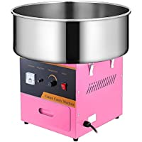 VEVOR Machine à Barbe à Papa Commerciale Rose Bol en Acier Inox 53 cm 1000 W avec 1 x Cuillère à Sucre et 2 x Brosses à…