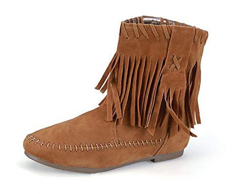 XBXB Stylische Damen Stiefeletten Worker Boots Spitze Knöchelhohe Stiefel Gesteppt Damenschuhe Leder-Optik Damen Stiefel Stiefeletten Nieten Fransen Schuhe, Camel/Cotton, EU39/UK6