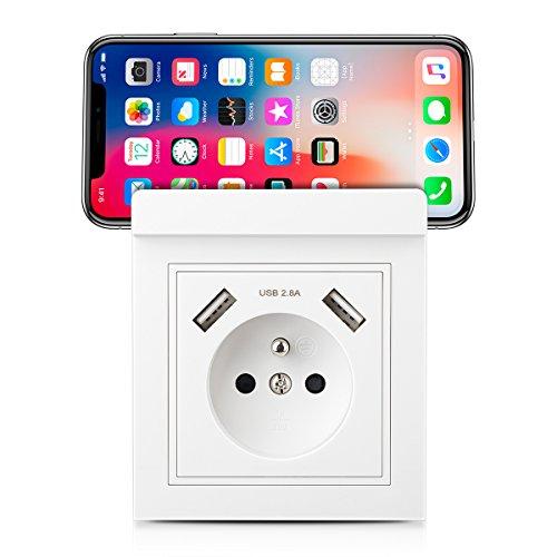 Kaifire Prise murale USB avec Support téléphone, Prise électrique Nouveau modèle Double chargeur 2.8A Normes françaises - Adapté pour Apple/Android
