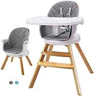 Yoleo Trona para Bebe Evolutiva, Trona de madera evolutiva, Trona para bebés con bandeja extraíble, Ajustable,