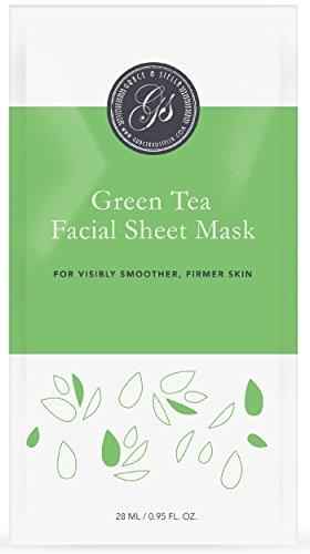 BESTE Grüner Tee Gesichtsmasken (6Er Set) | Tuchmasken | Anti-Oxidant | Entgiftung | Reinigun | Entzündungshemmend | Anti-Aging | Anti-Falten | Verbessert den Teint | Entspannend Grüne Gesichtsmaske