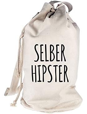 Shirtstreet24, Selber Hipster, bedruckter Seesack Umhängetasche Schultertasche Beutel Bag