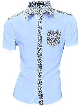 Allegra K Camisa Para Hombres Mangas Cortas Impresiones Florales Boton-Frente - Azul/M (US 40, EU 50)