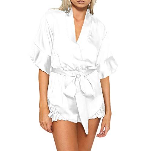 WooCo Sommer Jumpsuits Chiffon Elegant für Frauen - Damen Overall V-Ausschnitt Rüschen Short mit Gürtel Kurzarm - Cool & Comfy 2019 Sale(Weiß,S)