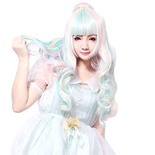 RYTEJFES -Perücken Damen Farbe Perücke Spitze Haarnetz Farbiges langes lockiges Haar Lang Haar Wigs für Karneval Cosplay Halloween Mode Lolita Jeden Tag (Perücken Halloween Rabatt)