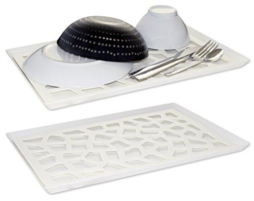 Abtropftablett, 2 tlg. Set mit Abtropfgitter und Abtropfschale für Geschirr, Obst, Gemüse; Abtropfmatte für die Spüle, Serviertablett