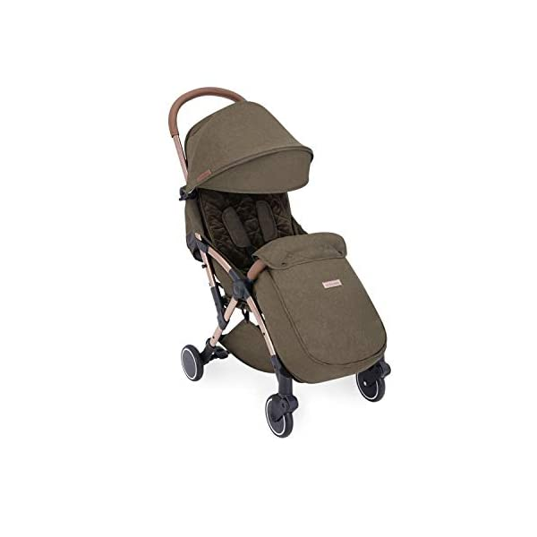 Ickle Bubba Globe Prime Baby Stroller | Lightweight and Portable Stroller Pushchair | Folds Slim for Ultra Compact Storage | UPF 50+ Extendable Hood and Baby Carriage Accessories | Khaki/Rose Gold Ickle Bubba ONE-HANDED 3 POSITION SEAT RECLINE: Luxury baby stroller suitable from birth to 15kg-approx. 3 years old; features luxury soft quilted seat liner, footmuff, cupholder, buggy organiser, storage bag and rain cover UPF 50+ RATED ADJUSTABLE HOOD: Includes a peekaboo window to keep an eye on the little one; extendable hood-UPF rated-to protect against the sun's harmful rays and inclement weather ULTRA COMPACT AND LIGHTWEIGHT: Easy to transport, aluminum frame is lightweight and portable-weighs only 6.4kg; folds compact for storage in small places-fits in aeroplane overhead; carry strap and leather shoulder pad included 10