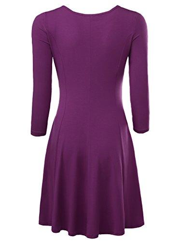 BAISHENGGT Damen Skaterkleid Rundhals 3/4-Arm Fattern Stretch Basic Kleider Lila
