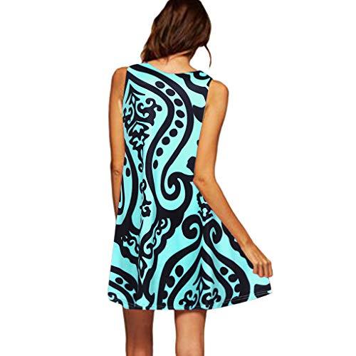 CixNy Damen Kleider Röcke Kurzarm Sommerkleider Strandkleid Sommer Ärmelloses Boho Print Lässige Beach Vintage Fashion Kurzes Minikleid Abendmode Tüllkleid S-XXL (Grün, XXX-Large)