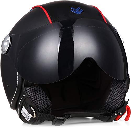 ARMOR HELMETS AV-84 Pure 'Booster' · Jet-Helm · Motorrad-Helm Roller-Helm Scooter-Helm Bobber Mofa-Helm Chopper Retro Cruiser Vintage · ECE Visier Leather-Design Schnellverschluss Tasche M (57-58cm)