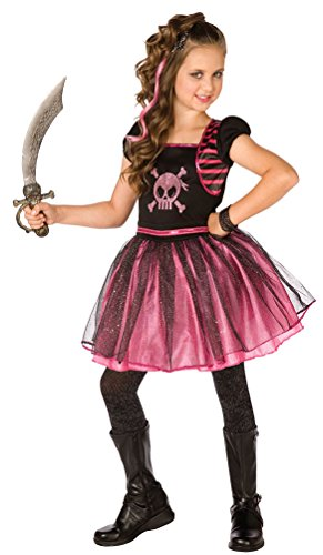 Karneval Klamotten Piraten-Kostüm Piratin Kinder Mädchen pink-rosa-schwarz Piratenbraut Kinderkostüm Kleid Größe (Rosa Kostüme Piraten Mädchen)