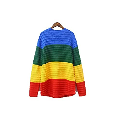 CHLXLadies Rainbow Sweater Female Loose Medium Long,A-OneSize