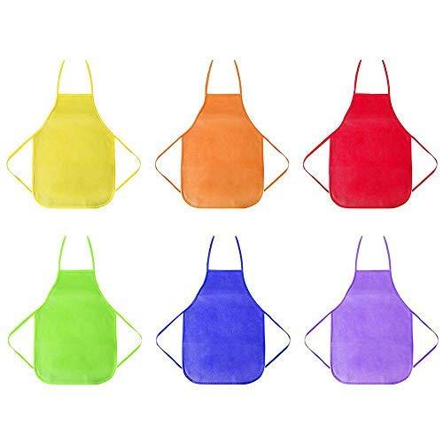 MOGOI Kinder-Schürzen, 6 Stück, 6 Farben, wasserdicht, für Kinder, Künstler, Schürze für Küche, Klassenzimmer, Community-Event, Handwerk und Malerei