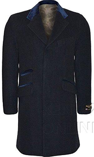 & pour homme en laine de cachemire mélangée avec bordure en velours luxueux Manteau formelle poils longs Bleu - Bleu marine