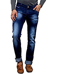 Villain Men's Jeans - Slim Fit Denims For Boys - Washed Finish Mid Rise Jeans - Dark Blue