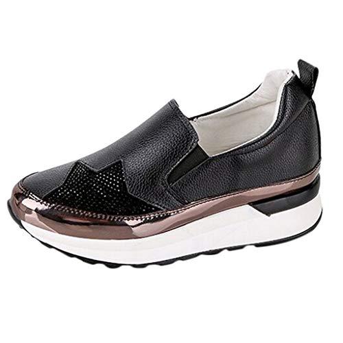 ZIYOU Turnschuhe für Damen, Casual Wedges Schuhe Leicht Keilabsatz Sportschuhe Einzelschuhe (Schwarz,38 EU)