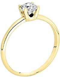 18K Gold / Yellow Round Cut Diamond Simulated Swarovski Pure Brilliance Zirconia Engagement Ring (0.44 cttw)