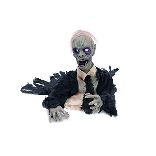 iedhofsmonster riesige 0,5 Meter Zombie Leiche mit Leuchtaugen, Animation und Soundeffekten Grabmonster Geisterbahn Qualität Untoter Halloween Ghoul dreht den Kopf, stöhnt und gruselige Musik ertönt Horror Party Hammer Animatronic Sensation (Halloween Sound)