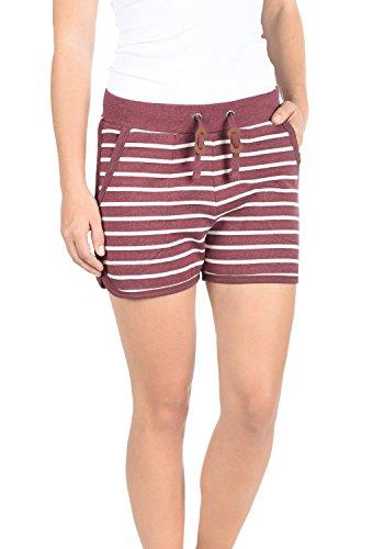 Blend She Kira Damen Sweatshorts Bermuda Shorts Kurze Hose mit Fleece-Innenseite und Streifen-Muster Regular Fit, Größe:XXL, Farbe:Zinfandel (73006)