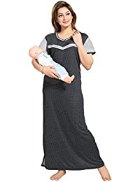 TUCUTE Women's Dotted Print (Black) Feeding/Maternity / Nursing Nighty Style: 1254